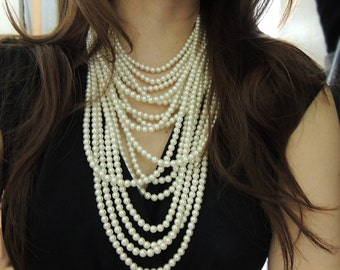Couture Pearl Statement Necklace - Multi Strand Pearl Necklace - Layer Pearl Necklace - Big Chunky Necklace