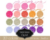 Yarn Balls Pink Purple Red Orange  Crochet Knitting Clipart 20 ClipArt Images for cards, scrapbooking  - instant download - CU OK