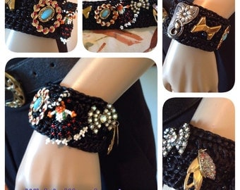 Vintage Charm Wrap Cuff Hand Crocheted Black Bracelet Retro Eclectic Collage One-of-a-Kind Beaded Retro WishAnWearJewelry Ole!