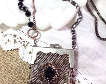"Vintage Mesh Coin Purse Pendant Necklace Silver Tone Repurposed 30"" Long Chain Mixed Metals Black Beads Assemblage Funky Boho WishAnWear"