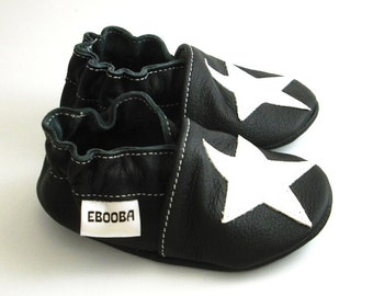 soft sole baby shoes infant kids children white star black 2 3 years ebooba ST-13-B-M-5