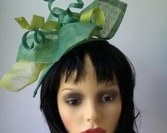 green fascinator head piece