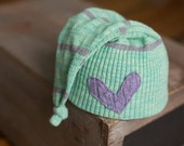 Upcycled Newborn Girl Hat Light Green & Purple Striped Knot Hat Sleepy Time Cap with Heart Patch Newborn Photography Prop READY TO SHIP
