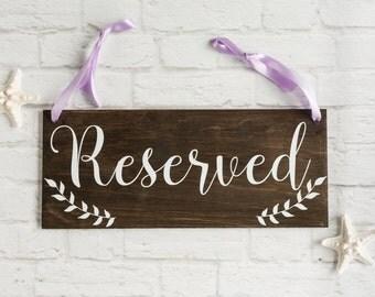 Boho Wedding Reserved Seating Sign - Wood Boho Wedding Sign for Reserved Seats with Laurels Your Choice of Ribbon Colors