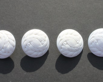 """Vintage Large White Plastic Carved Relief Buttons, 1 1/8"""" Round Coat Buttons, Lot of 4 Sewing Crafting Jewelry Buttons"""