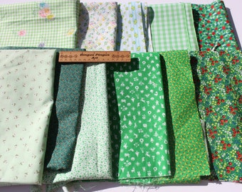 Vintage Small Tiny Print Cotton Fabric, Green White Remnant Lot, Flower Floral Fabric Bundle, Quilting Sewing Fabric Scraps, 1 lb plus