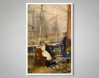 A Visit to the Yacht by James Tissot - Poster Paper, Sticker or Canvas Print