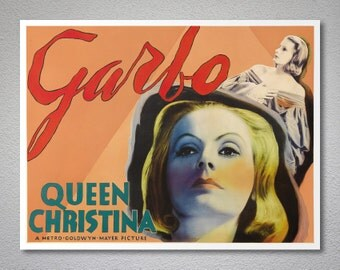 Queen Christina, Greta Garbo Vintage Movie Poster - Poster Paper, Sticker or Canvas Print