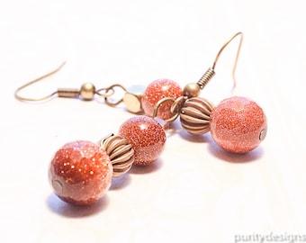 Goldstone Earrings, Gemstone Beads, Dangle and Drop Earrings, Bronze French Hooks, Women's Earrings, Gift, Size 10 mm, 8 mm beads,