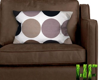Pair of spotted cream & brown cushion covers