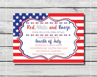 Red, White and Booze 4th of July Party Invitation. Fourth of July. {DIGITAL PRINTABLE INVITATION} Cookout and Fireworks Party Invitation