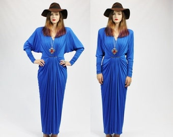 SUMMER SALE 35% OFF 1980s Cobalt Blue Art Deco Batwing Pleated Rhinestone Maxi Dress