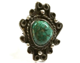 Navajo Dead Pawn Silver and Turquoise Ring Size 7