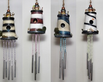Hand Painted Wood Lighthouse Nautical Decor, Wooden Birdhouse Wind Chime Home Decor, Part of Sale Supports Animal Rescue, Sold Separately