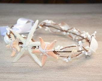 Starfish crown Mermaid crown Beach wedding hair accessories Bridal headband Sea shell headpiece Starfish headband boho Destination wedding
