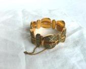 Vintage damascene bracelet - 1960s damascene bracelet - 1950s enamel damascene link bracelet - mid century damascene bracelet