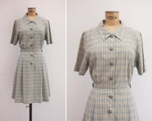 1970s Dress - Vintage 70s Cotton Plaid Dress - Quiet Morning Dress