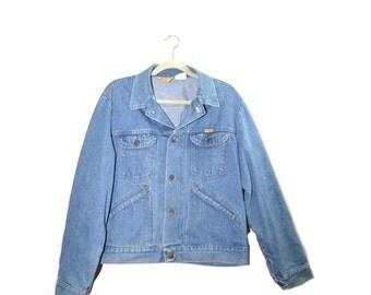 Vintage Denim Jacket Rustler Denim Jacket Mens Denim Jacket Jean Jacket Rustler Jacket Size Large