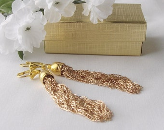 FREE SHIPPING, Gold Chain Tassle Earrings Filigree Lever back Posts