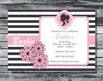 Barbie Inspired Birthday Printable Invitations - Spa Party Invitations