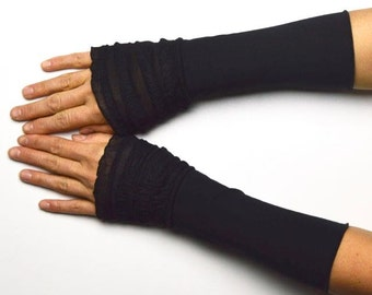Mittens arm warmers vintage retro black romantic