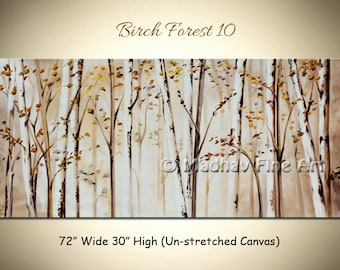 """painting of Birch tree forest, Autumn Birch Forest, Wall Art Landscape, light color, Size: 72"""" x 30"""" By MadhavFineArt"""