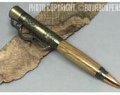 Lever Action Bourbon Barrel Pen with Antique Brass hardware