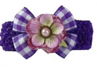 Easter Bow Headband, Baby Headband, Bow Headband, Purple Baby Head Band, Infant Headband