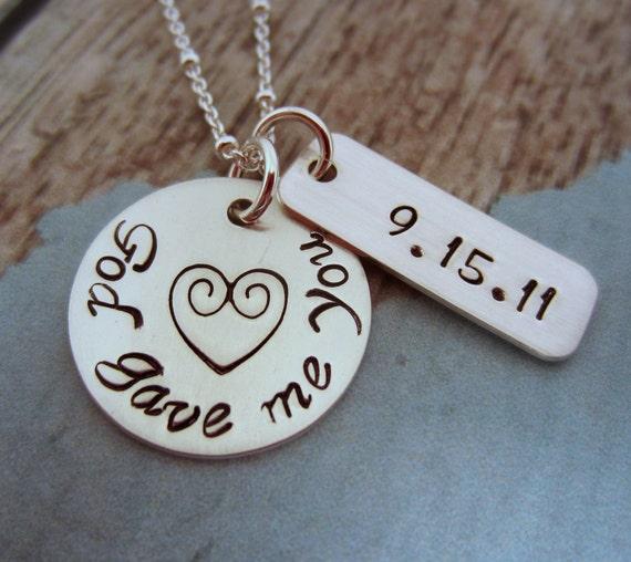 Wedding Date Necklace, Bridal Shower Gift, God Gave Me You, Special Date Necklace, Wedding Date Jewelry, Hand Stamped Necklace, Wedding