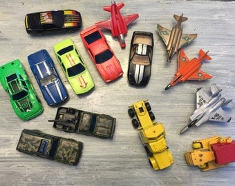 Die Cast Trucks & Cars Lot, Vintage 1980s Sports Car, Racing, Airplane, Construction Truck, Big Rig, Military Bundle, Toy Car Lot