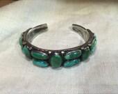 Jock Favour Ingot Silver Turquoise Vintage Style Heavy Cuff Bracelet
