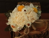 Cream Hydrangea Sola Flower Craspedia Pin On Corsage, Dried Flower Wedding Corsage, Sola Flower Bridal Corsage with Hydrangea and Craspedia