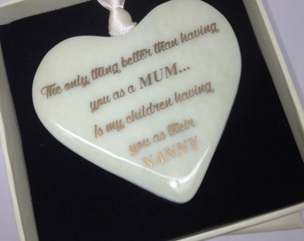 "Fused Glass Heart With 22 carat Gold Text ""The Only Thing Better"""