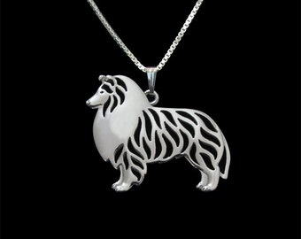 Standing Shetland Sheepdog pendant and necklace - sterling silver