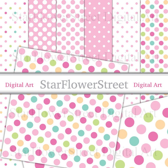 Pink Polka Dot Digital Paper pastel pink with rainbow dots