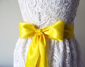 Yellow Bridal Sash / Double Face Sash  Ribbon /  Ribbon Sash /  DIY sash / 12ft sash / 9 ft sash/ 6ft sash