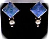 Navajo SARA PLATERO Artisan Vintage Sterling Silver, Lapis and Pearl Pierced Earrings