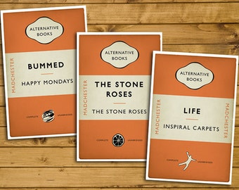Madchester - The Stone Roses, Happy Mondays and Inspiral Carpets - Set of 3 - Alternative Book Cover Posters (UK and US sizes available)