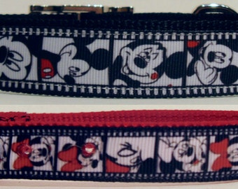 Classic Mickey Mouse and Classic Minnie Mouse-Disney-Black & White Film-SM,MD,LG Dog Collar-Girl Dog Collar-Boy Dog Collar-Matching Leash
