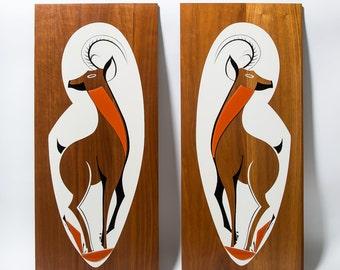 Mid Century Gazelle Wall Art 1960s Wood and Glass Safari Theme