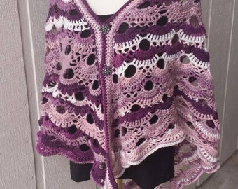 Full Size Shawl/Wrap ~ Purples ~Crochet ~ Handmade ~ Ladies ~ Women ~ Special Occasion ~ Gift ~ Mother's Day ~ Mom ~ Ready to Ship ~