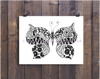 Art, Black and White Art, Pen and Ink Butterfly, Butterfly Art,  Butterfly Drawing, Signed 5 x 7 Print, Butterfly Home Decor, Design Drawing