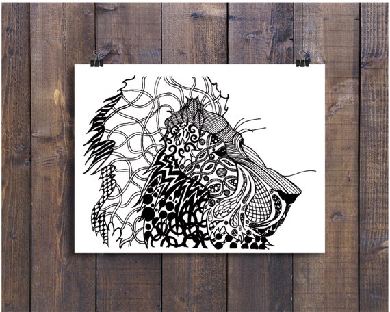 Lion Drawing, Lion Art, Pen and Ink Lion, Black and White Lion, Ink Art, Ink Lion, Lion Gift, Nursery Art, Safari Art, Pen Art, Doodle Art