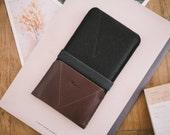 "HTC One M9 Sleeve, HTC One M9 Wallet, ""Kangaroo"", leather, wool felt"