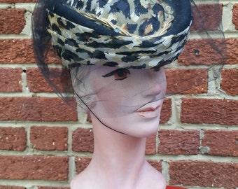 SALE**Vintage Retro Pinup Cheetah Hat with Veil Sonni Dillards Original Tag