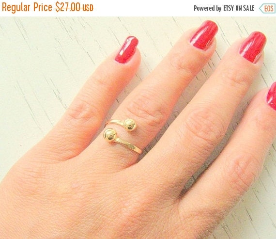 Sale - Gold spiral ring - thin delicate ring - Open gold bangle ring - gold wire ring