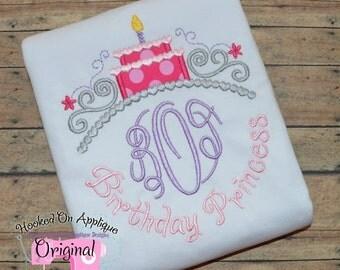 Birthday Princess Birthday Cake Tiara Monogram with Phrase - Custom Tee 89