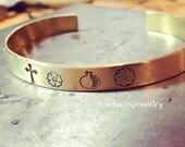 Armenian Symbol Cuff, Pomegranate , Cross, Forget Me Not, Armenian Eternity, cuff bracelet, brass cuff