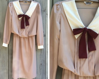 Vintage dress | 1970s schoolgirl style kawaii dress with pussy bow and collar