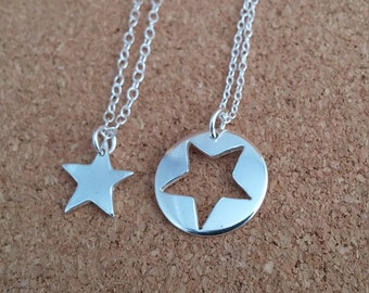 Star Necklace, Jigsaw Pendant in Sterling Silver, Mother Daughter Jewelry